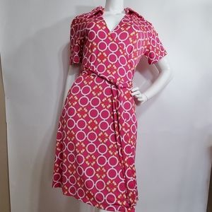 TRACY NEGOSHIN pink life preserve wrap dress